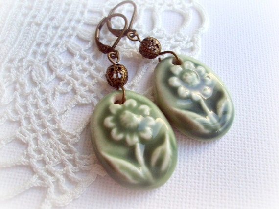 Green Porcelain Vintage Earrings. Antique Bronze Filigree Dangle Earrings. Spring Flower Earrings. OOAK