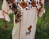 70's Embroidered Gauze Maxi Dress - Guatemalan Tunic // VTG Bohemian