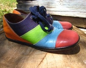 70's Leather Rainbow Wedges // VTG Platform Shoe Size 6
