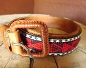Vtg Southwestern Red Leather Belt // Woven Ethnic size 28