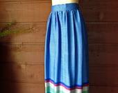 70's Woven Chevron Skirt - High Waisted  // VTG Handmade Maxi Size Small