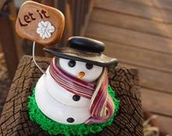 """Small Snowman """"Let it Snow"""" clay figurine"""