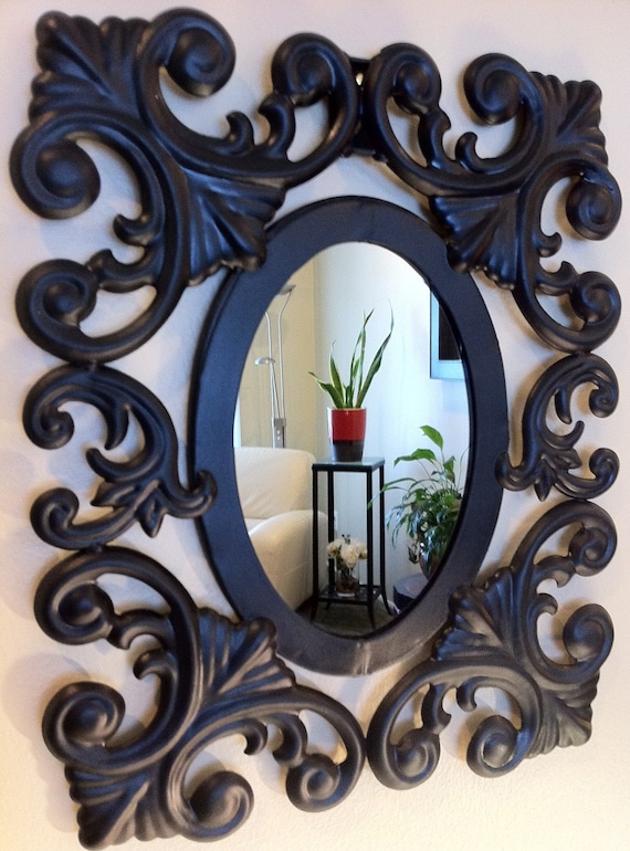 Oval Wall Mirror With Black Metal Frame