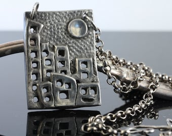 "Steel pendant 18"" chain ...Moon over Manhattan...made to order"