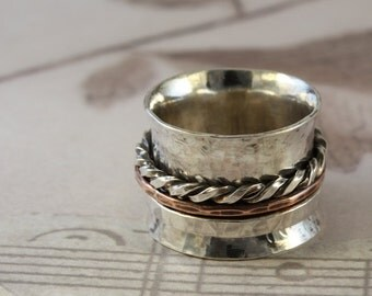Hammered Artisan Sterling Silver Spinner ring with 3 Spinners...made to order