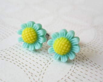 Daisy Earring - Teal Flowers - Surgical Steel Earrings - Turquoise