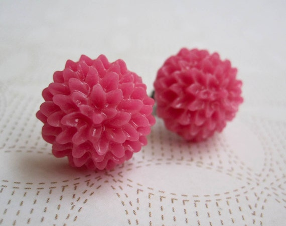 Mum Earrings - Hot Pink - Surgical Steel Earrings - Shabby Chic Earrings - Chrysanthemum - Bright Pink