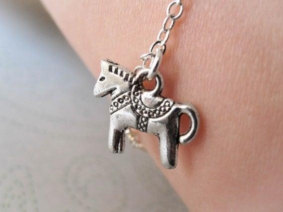 Dala Horse Bracelet - Scandinavian - Dalecarlian Horse - Horse Jewelry