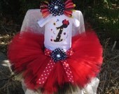 Minnie Mouse Birthday tutu set - Embroidered Shirt and Tutu Outfit