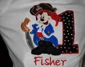 Embroidered Birthday Shirt, Mickey Mouse Pirate