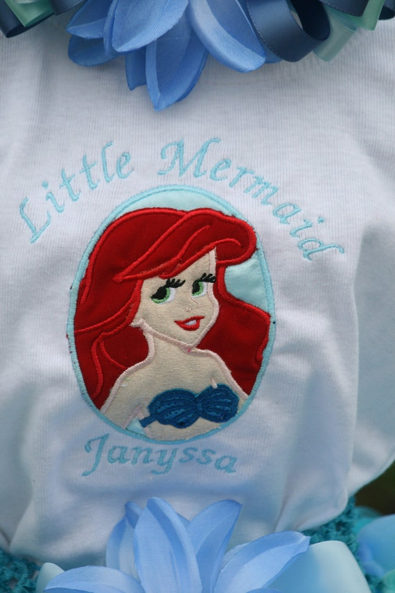 Embroidered birthday Shirt, Ariel the Little Mermaid