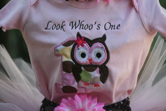 Embroidered Birthday Shirt:  Owl Look Whoo's One