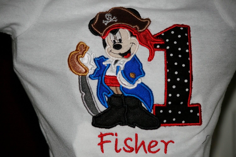 Embroidered Birthday Shirt Mickey Mouse By Tinasonceuponatutu