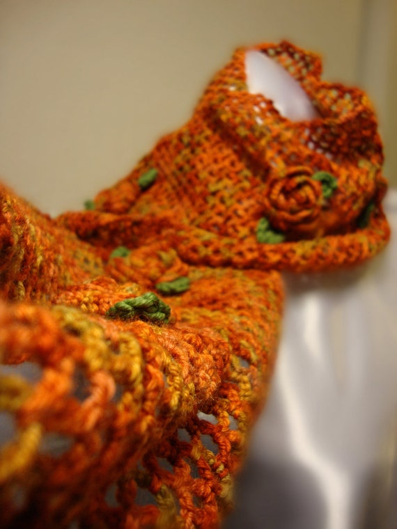 Crochet Lace and Roses Scarf