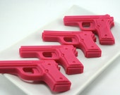 4 Pink Pistols . Vegan Glycerin Soap in Cotton Candy Fragrance. Includes Gift Box
