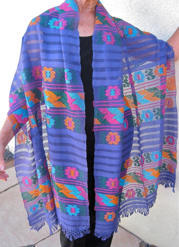 Mexican Rebozo Shawl handwoven cotton Lavender Frida Style