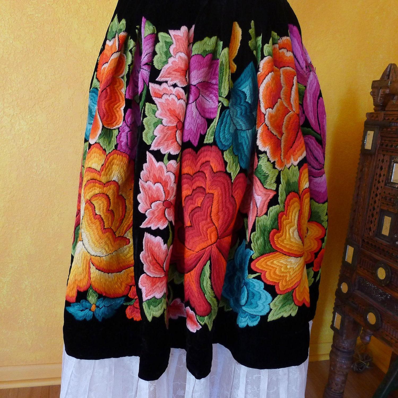Mexican embroidered skirt tehuana black velvet by