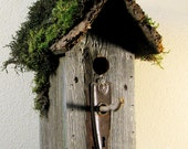 Rustic Back Country Cottage, Rustic Birdhouse, Repurposed Wood, Hardware, Eco-friendly, Birdhouse, Rustic