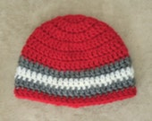Red, Gray, and White striped beanie for baby/ cute photo prop
