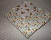 "Oversized Double-Layer Flannel Baby/ Toddler Blanket - ""I Love Grandma"" Bears"