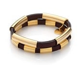 Gold Plated Tubes and Brown Leather Bracelet Pair