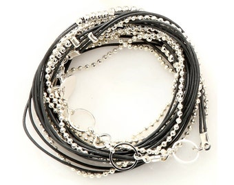 Warp Beaded Leather Bracelet in Silver  and Gray Leather