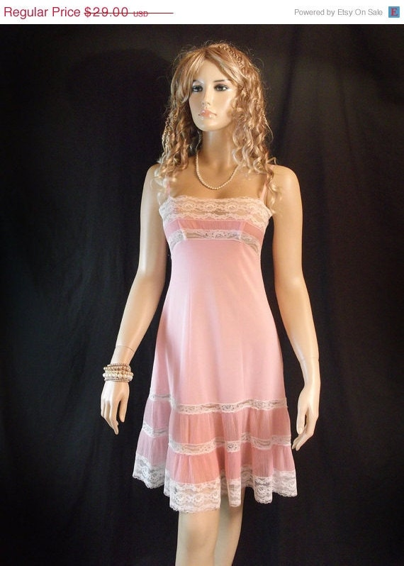 Sale 1950s Vintage Pleated Full Slip Pink Petticoat