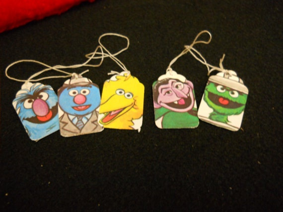 Sesame Street Christmas Gift Tags - Big Bird - The Count - Oscar The Grouch - Set of 5 - Handmade - Upcycled - REF.NO.CH71 - Gift Wrap