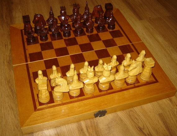 Unique Old Vintage Hand Carved Chess Set With Wooden By