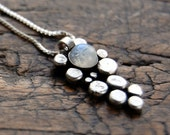 Moonstone silver pendant & chain, pebble necklace