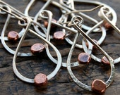 Copper silver earrings, twist copper pebble dangle earrings