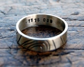 Personalised silver ring men women, grid reference contour silver ring