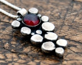 Garnet silver pendant & chain, pebble necklace