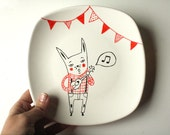 Hand painted plate decoration -  Rabbit singer