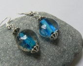 Water wonderland, blue and silver bead earrings