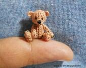 little Bear 1 Inch - Tiny Brown Bear - Teddy Bear Miniature - Bear Plush Toy - Thread Crochet Bear