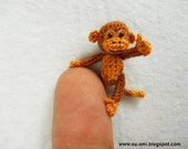 Lovely Brown Monkey - Tiny Crocheted Monkeys 1 Inch Scale - Made To Order