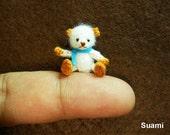 Cute White Bear Blue Bow - Micro Thread Artist Crochet Miniature Mohair Bear - Made To Order
