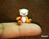Cute Mohair Teddy Bear - Micro Crocheted  Teddy 0.8 Inch Pink Scarf - Made To Order