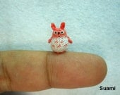 Micro Orange Totoro - Tiny Mini Dollhouse Miniature Animals - Crochet Woodland Rabbit - Made To Order