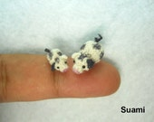 Tiny Sow Pig and Piglet - Micro Crocheted Black White Pigmy Pigs - Set Of Two - Made To Order