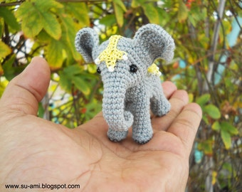 Circus Elephant  - Miniature Crochet Elephant With Lace Blanket - Made To Order