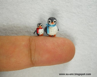Micro Miniature Penguins - Mini Tiny Crochet Penguin Amigurumi - Set of Two Penguin Chicks - Made To Order