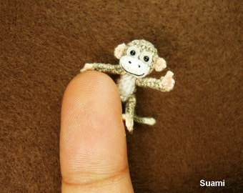 Lovely Tiny Monkey - 1 inch Scale Micro Crochet Gray Thread Monkeys - Made To Order