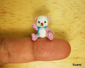 Tiny Doll Amigurumi Bear - Micro Thread Crochet Miniature Mohair White Pink Bear Blue Scarf - Made To Order