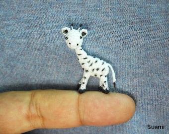 Tiny White Standing Giraffe - Micro Mini Crochet Miniature Animals
