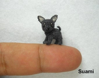 Micro Black Gray Chihuahua Dog - Tiny Crochet Dollhouse Miniature Pet - Made to Order
