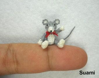 Tiny Crochet Mouse Rat - Micro Amigurumi Dollhouse Miniature Stuff Animal  - Made To Order