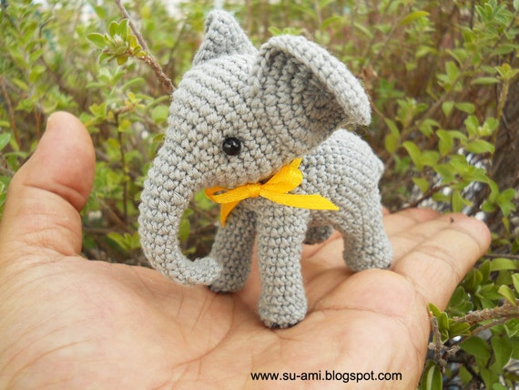 Crochet Elephant Stuff Animal - Miniature Elephant Amigurumi - Made To ...