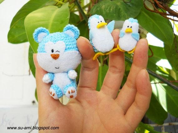 Blue Bear and Penguin Friends - Avatar Bear Miniature - Felt Crochet Bear - Plush Bear and Penguin